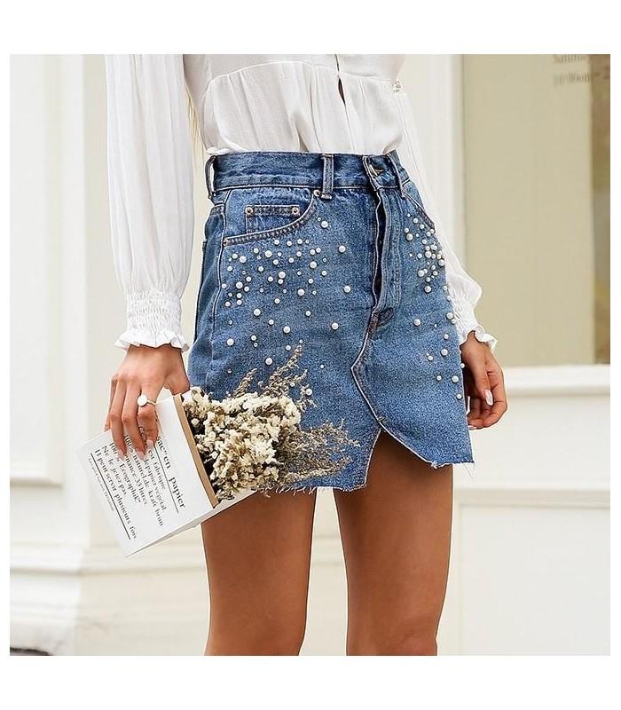 acquisto economico 72718 99343 Gonna Jeans Perle